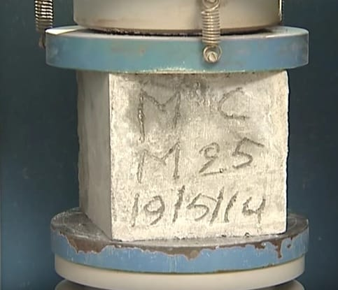 Compressive Strength test for M25 Concrete